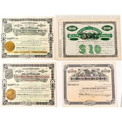 Nice Group of Southern California Mining Stock Certificates