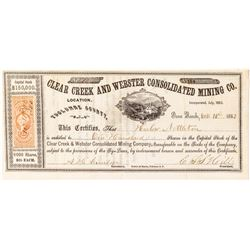Clear Creek and Webster Consolidated Mining Company Stock Certificate (Tuolumne)