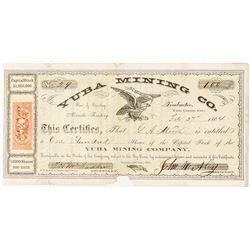 Early Yuba Mining Company Stock Certificate