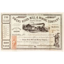 Owens River Mill & Mining Company Stock Certificate (Inyo District)