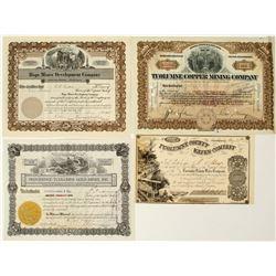 Four Tuolumne County Mining Stock Certificates