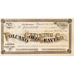 Volcano Gold and Gravel Mining Company Stock Certificate (Amador County)