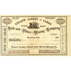 Yellow Jacket & Carey Gold & Silver Mining Company Stock Certificate