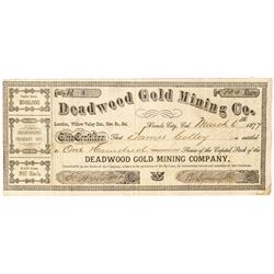 Deadwood Gold Mining Company Stock Certificate