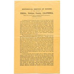 Pamphlet – Historical Sketch of Mining in the Vicinity of Yreka, Siskiyou County