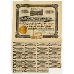Choice California Oil Stock Certificate: Sedalia & California Oil Co.