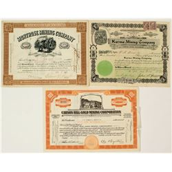 Three Different California Mining Stock Certificates