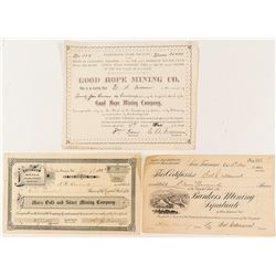 Three Rare California Mining Stock Certificates