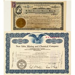 Two California Mercury Mining Stock Certificates
