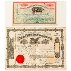 Colorado Mining Stock Certificate Pair: Gilpin & Clear Creek