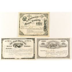 Different Pictorial Trio of Leadville Mining Stock Certificates