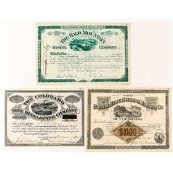 Leadville Mining Stock Certificate Trio