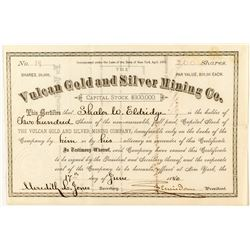 Vulcan Gold & Silver Mining Company Stock, Ouray 1880