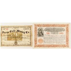 Colorado Mining Stock Certificate Pair: Buena and Pittsburgh