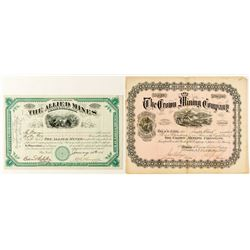 Colorado Mining Stock Certificate Pair: Ouray & Gunnison