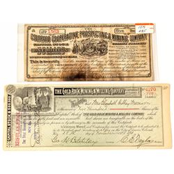 Two Smaller Colorado Mining Stock Certificates