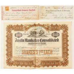 Two Good Austin Mining Checks & a Stock Certificate