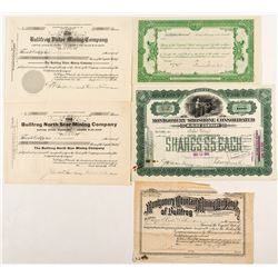 Five Different Bullfrog, Nevada Mining Stock Certificates