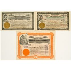 Three Different Bullfrog Mining Stock Certificates