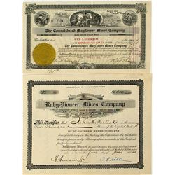 Two Pioneer District, Nevada Mining Stock Certificates