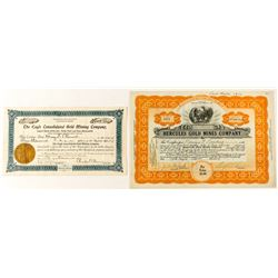 Churchill County Mining Stock Certificate Pair