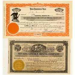 Two Churchill County, Nevada Mining Stock Certificates