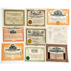 Ely, Nevada Mining Stock Certificate Collection