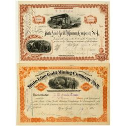 State Line Gold Mining Co. No. 3 & 4 Stock Certificates