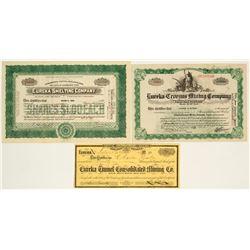 Eureka, Nevada Mining Stock Certificate Trio incl. Governor Signature