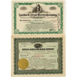 Two Eureka, Nevada Mining Stock Certificates