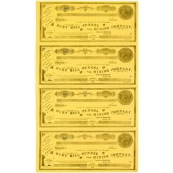 Sheet of Ruby Hill Tunnel & Mining Company Stock Certificates