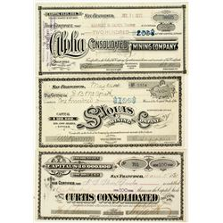 Three Different Gold Hill Mining Stock Certificates