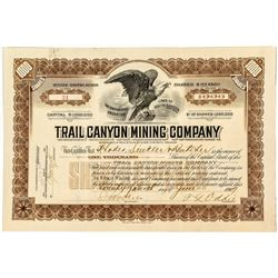 Trail Canyon Mining Company Stock Certificate signed by Governor Oddie