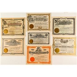 Seven Different Goldfield Mining Stock Certificates