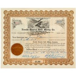 Nevada General Gold Mining Company Stock Certificate