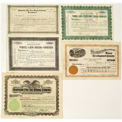 Five Different Manhattan Mining Stock Certificates