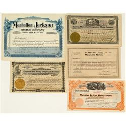 Five Manhattan Mining Stock Certificates