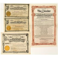 Manhattan-Nome Gold Tied Mining Stock Certificates