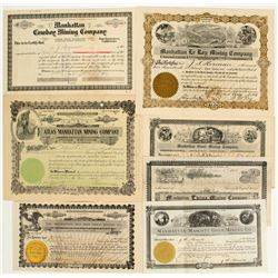 Seven Manhattan Nevada Mining Stock Certificates