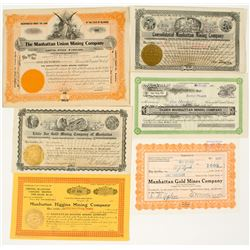 Six Manhattan, Nevada Mining Stock Certificates