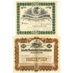 Two Oversized Manhattan Mining Stock Certificates