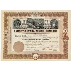 Ramsey-Nevada Mining Company Stock Certificate