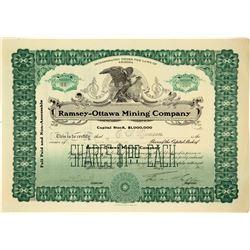 Ramsey-Ottawa Mining Company Stock Certificate