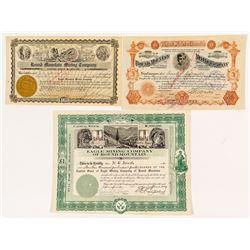 Three Round Mountain, Nevada Mining Stock Certificates