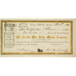 The Nevada Blue Ridge Mining Company Stock Certificate