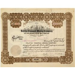 """Halifax Tonopah Mining Co. Stock Certificate Signed by """"Borax"""" Smith"""