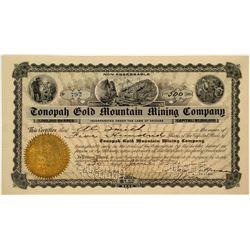 Tonopah Gold Mountain Mining Co. Stock Signed by Key Pittman