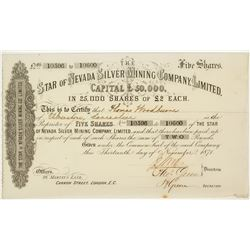 Star of Nevada Silver Mining Company Stock Certificate