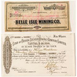Pair of Tuscarora Mining Stock Certificates