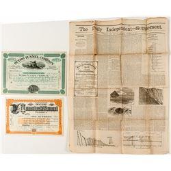 Sutro Tunnel Company Stocks & Newspaper